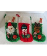 "Set of 3 Vintage 16"" Christmas Santa, Snowman, & Reindeer Stockings - $16.82"
