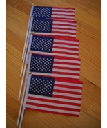 5 PCS 6x9 INCH US AMERICAN HAND HELD STICK FLAGS WITH SAFETY BALL  (NEW) - $14.75