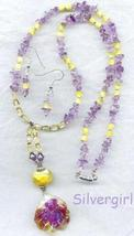 Lovely Lampwork Bali Amethyst Necklace and Earrings - $45.99
