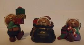 Hallmark Merry Miniatures Santa's Helpers 3-Piece Set Holidays 1996 image 1