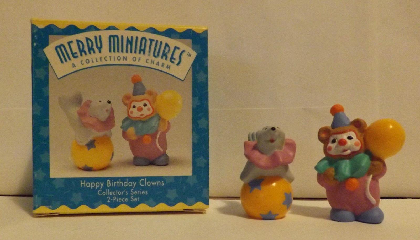 Hallmark Merry Miniatures Happy Birthday Clowns 2-Piece Set 1996