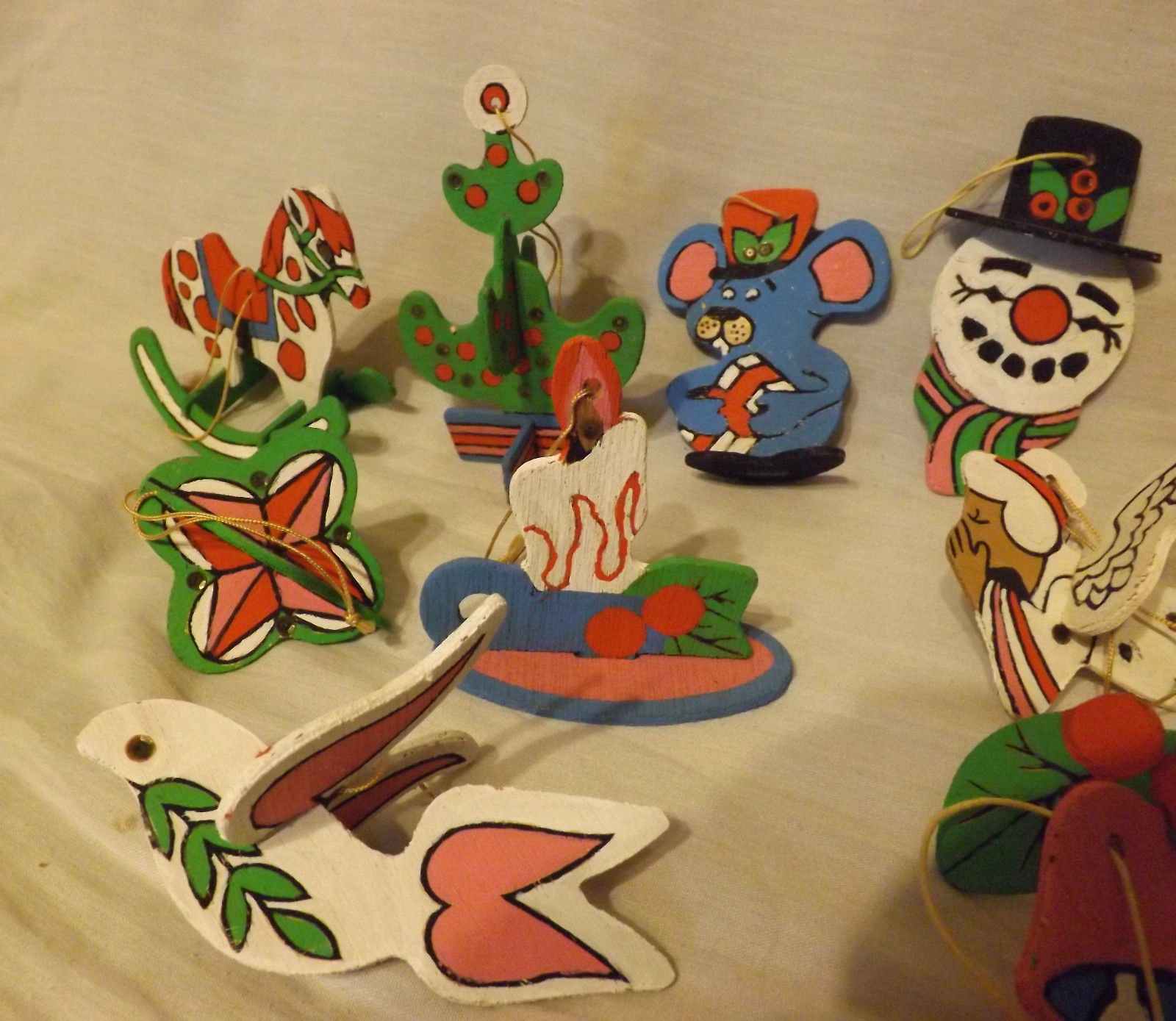 Wooden Christmas Ornaments Lot of 13