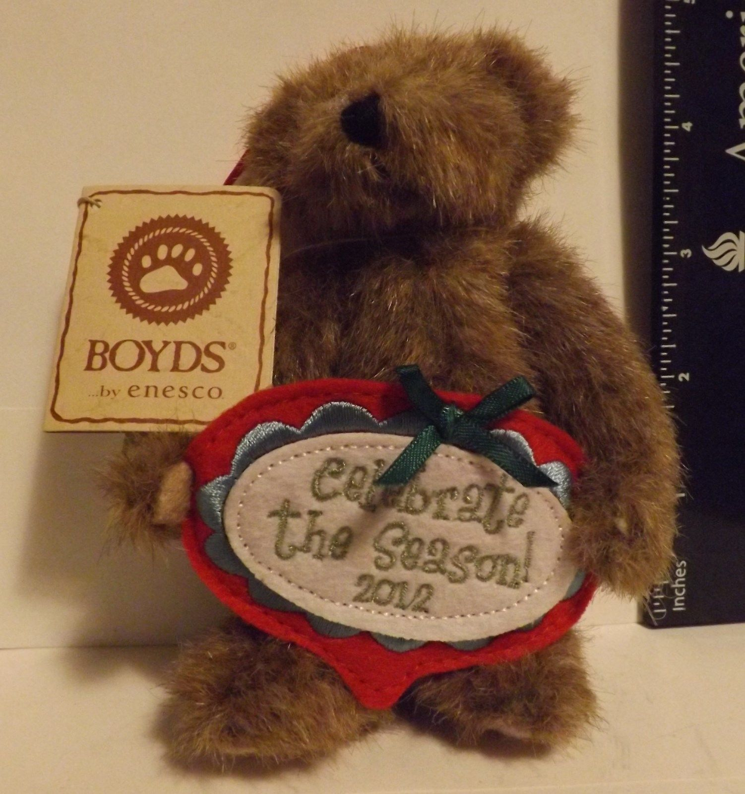 Boyds Bear Plush Ornament Merry Celebrate the Season 2012