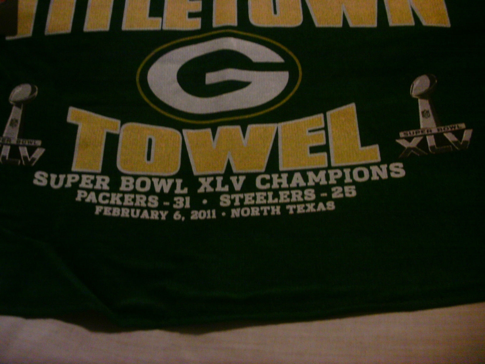Green Bay Packers Title Town Towel Super Bowl XLV Super Bowl Champions image 2