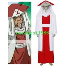 Naruto Sarutobi 3rd Hokage Halloween Cosplay Costume Hat Sash Top Overcoat - $57.80