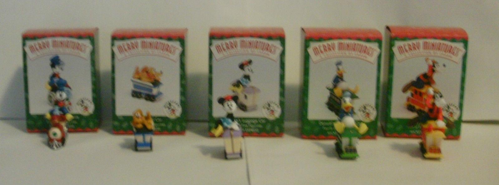 Disney Hallmark Merry Miniatures Mickey Express Train 1998 Complete Set of 5