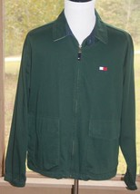 Tommy Hilfiger Size Large Hunter Green Jacket With Pockets Big Flag Vint... - $28.49