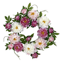 "22"" Peony Wreath, Nearly Natural - $74.01"