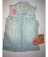 New Girls NWT $128 True Religion Brand Jeans M Denim Vest Light Blue Red... - $51.20