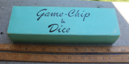 Vintage Game - Chip & Dice with Cover and Plastic Box - 99 Chips & 3 Dice - $6.00
