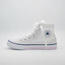 SHOES CONVERSE KID ALL STAR HI TINY CROCHET OP.WHITE/WHITE/C.PI 652725C ... - $46.65