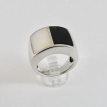 Ring aus Silber 925 Mit Perlmutt Weiß Rechteckig Und Politur Schwarz - $86.08