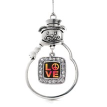 Inspired Silver Peace And Love Classic Snowman Holiday Christmas Tree Ornament W - $14.69