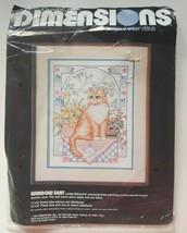 Dimensions Vtg 1988 Cross Stitch Kit 3089 Window Seat Cat Tabby Kitten OPEN READ - $11.64
