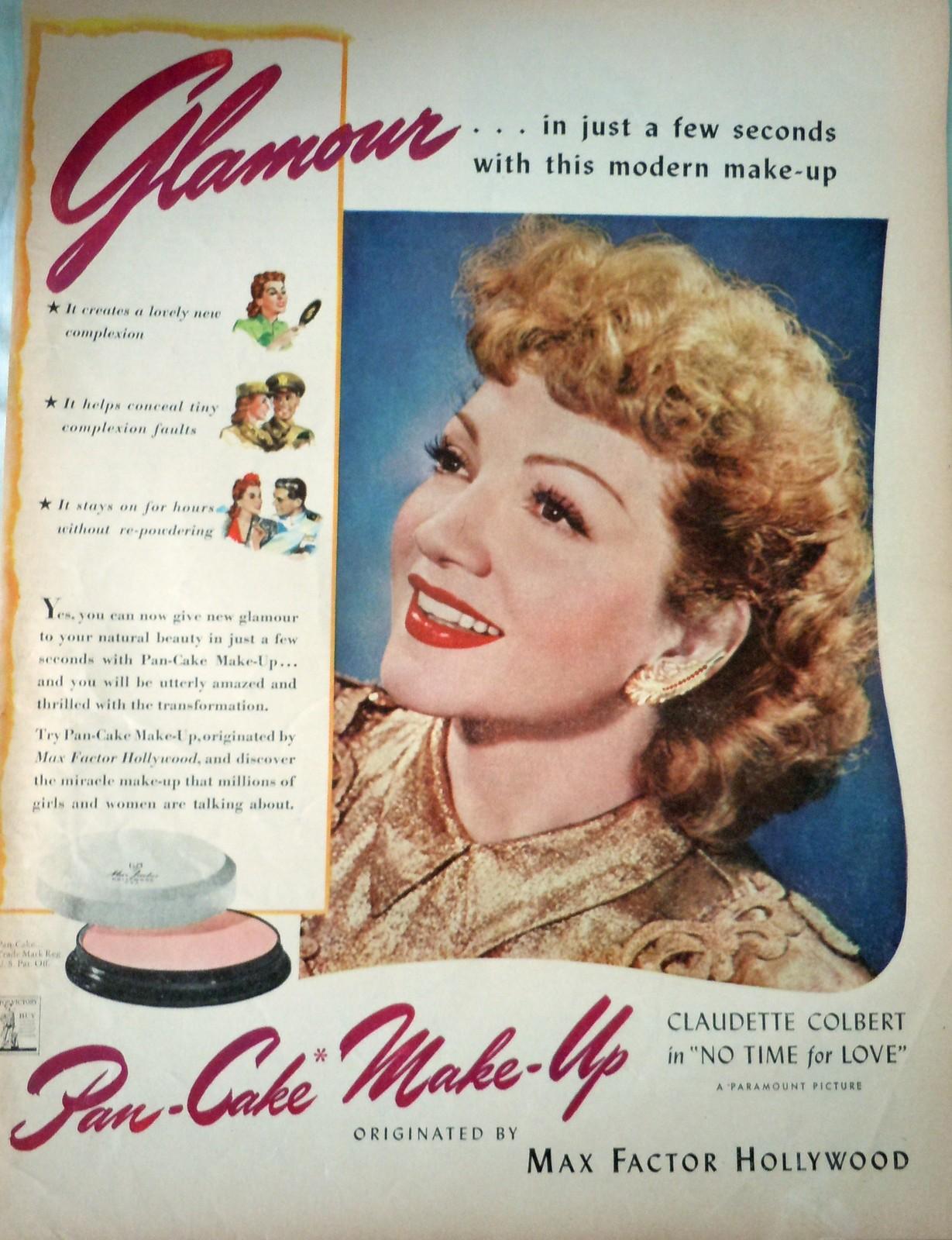Max Factor Claudette Colbert Pan Cake Makeup WWII Advertising Print Ad Art 1940s - $15.99
