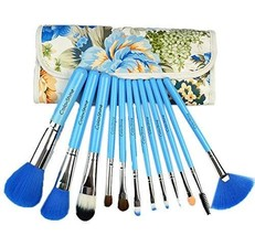 Blue Animal Hair Makeup Brushes 12 PCS Pro Brush Kit