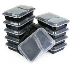 50 Pack Bento Lunch Boxes Lids 2 Compartment Meal Prep Food Storage Orga... - €24,73 EUR