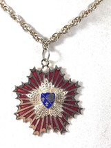 VTG silver color metal Enamel chain necklace code of arms star burst pen... - $33.26