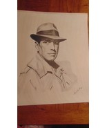 "Vintage Pencil Print Humphrey Bogart 16"" x 20"" Signed David Cooney-Frame - $19.99"