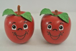 Fisher-Price Happy Apple Lot of 2 Approx. 6 Inches Tall Made in USA They Jingle! - $28.84