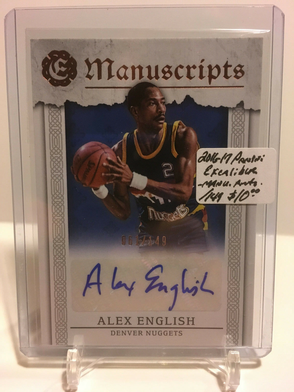 Primary image for 2016-17 Panini Excalibur - Manuscripts AUTO #MAE Alex English 61/149