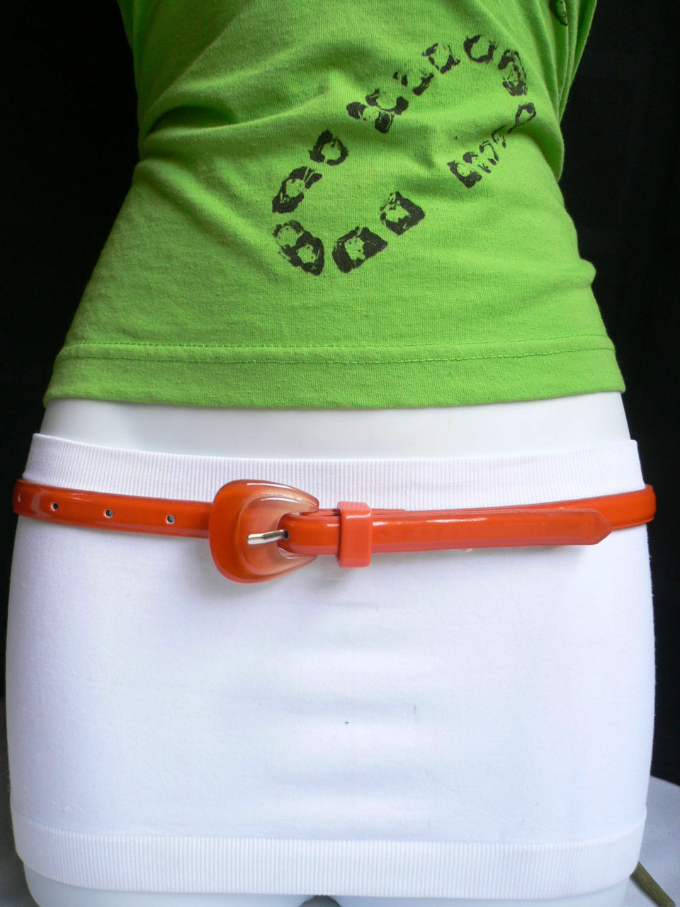 Neu Damen Mode Gürtel Trendy Skinny Hell Orange Kunstleder Schnalle S M image 2