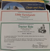 Danbury Mint Collector porcelain Plate Tractor Ride w certificate of auth image 3