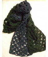 SCARF new crocheted blue green lacy 8 x 70 flecks of color heather  - $17.00