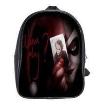 Backpack School Bag Joker With Card American Superheroes In Batman Harley Queen  - $33.00