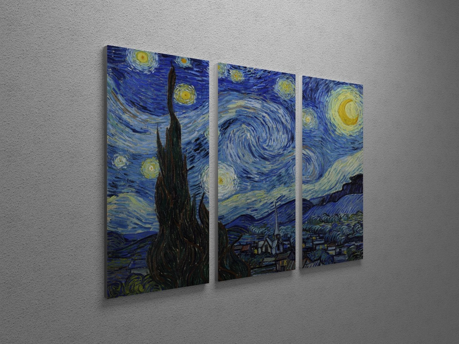 "Primary image for Vincent Van Gogh Starry Night Canvas Triptych Print 48""x30"""