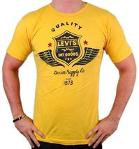 NEW NWT LEVI'S MEN'S PREMIUM CLASSIC GRAPHIC COTTON T-SHIRT SHIRT TEE YELLOW image 3