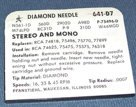 641-D7 RECORD PLAYER NEEDLE STYLUS for RCA 75497 RCA 75475 Pfanstiehl image 2