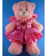 "Pink bear w beautiful heart decorated dress angel wings 15"" Build A Bear... - $15.83"