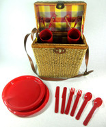 Wicker Picnic Basket Set for 2 Red Plastic Utensils Cups Plates Shoulder... - $19.75