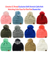 New! CC Exclusive Soft Stretch Cable Knit Colored Faux Fur Pom Pom CC Be... - $13.79