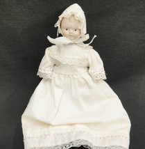 Vintage Small Porcelain Doll in Long Dress and Bonnet - $21.77