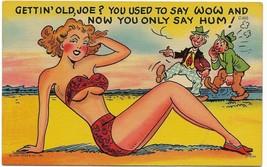 1952 Linen Curt Teich Comic Postcard- C-805 sunbathing lady beach - $9.99