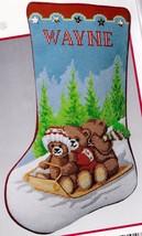 Needle Treasures Toboggan Ride Bears Sled Snow Needlepoint Stocking Kit ... - $142.95
