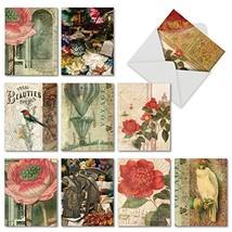 Vintage Note Cards with Envelopes Box of 10, Blank 'Secret Garden' Stati... - $11.67