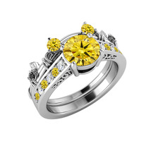 14K White Gold Over Citrine & Diamond Mickey Mouse Bridal Engagement Ring Set - $94.18