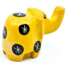 Tabaka Chigware Hand Carved Kisii Soapstone Miniature Yellow Elephant Figurine image 3