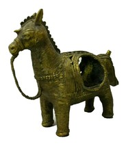 Lamp Stand Sculpture Idol Vintage Tribal Brass Horse Dokra Art - $102.64