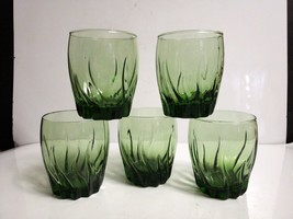 Set of 5 Anchor Hocking CENTRAL PARK IVY GREEN Double Old Fashioned Glas... - $15.84