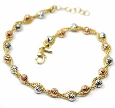 18K YELLOW WHITE ROSE GOLD BRACELET, BRAIDED BASKET LINK, DIAMOND CUT BALLS - $494.00