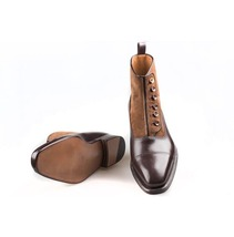 Handmade Men's Two Tone Brown Leather And Suede Buttons Boots image 1