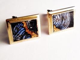 Gold & Black Vinyl Dragon Detail Cuff Links, Men's Handcrafted Retro Ser... - $24.99