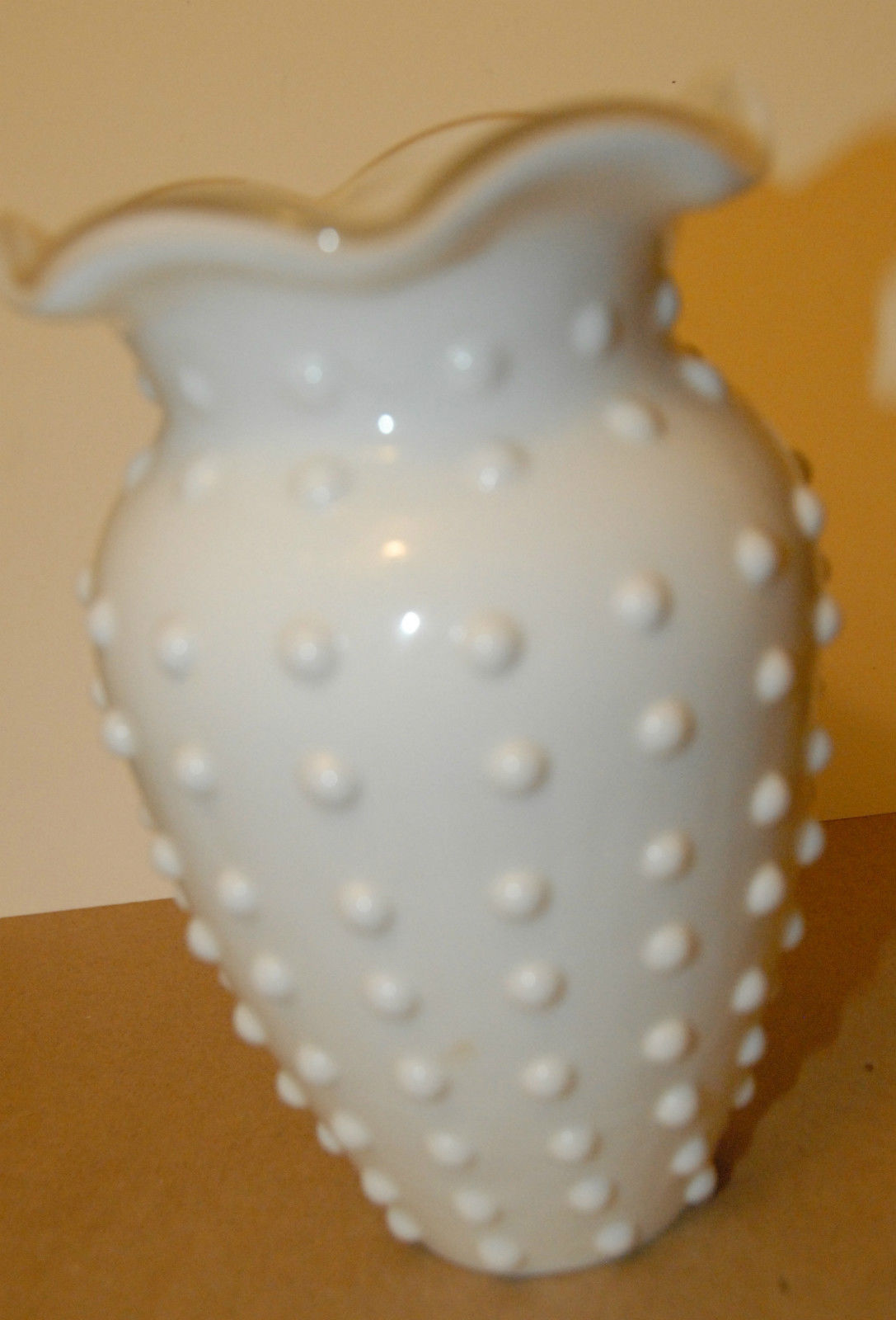 "Primary image for WHITE CASED TELEFLORA ? FENTON ? GLASS HOBNAIL VASE VGC  6 1/2"" H COTTAGE CHIC"