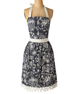 Anthropologie Buds for Butterflies Apron Grey Print Mom Hostess Shower G... - $40.80