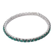 Inspired Silver Single Row Emerald CZ Accent Gunmetal Finish Stylish Str... - $256,53 MXN