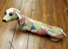 Vintage ROC Taiwan Primitive Dachshund Dog Plush Quilted Folk Art Patchw... - $29.09
